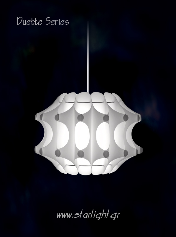 Modern Pendant light fixture Duette in White.