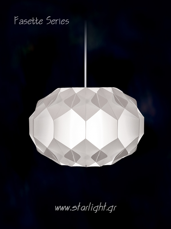 Contemporary Pendant Light Fixture Fasette in White