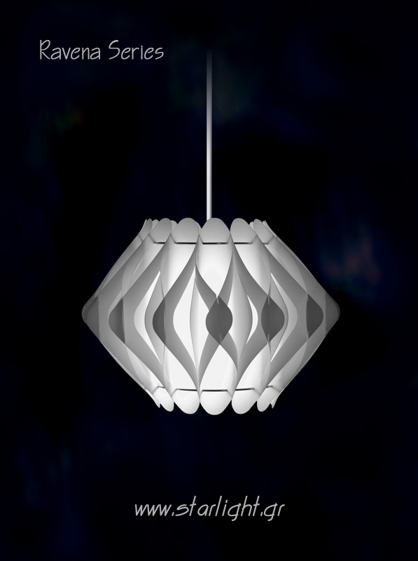 Pendant Light Fixture Ravena in white.