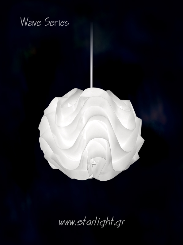 Pendant Light Fixture Wave in White.