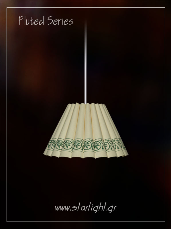 Pendant fluted lampshade in white.