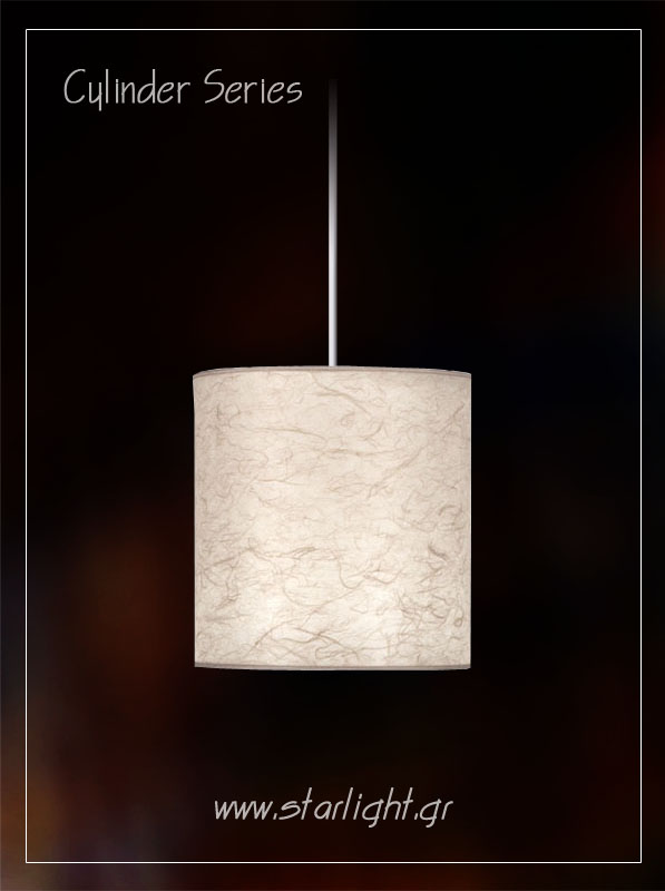 Cylindrical Pendant light fixture made of rice paper.