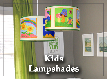 Pendant Children's Lamp shades in a nursery.