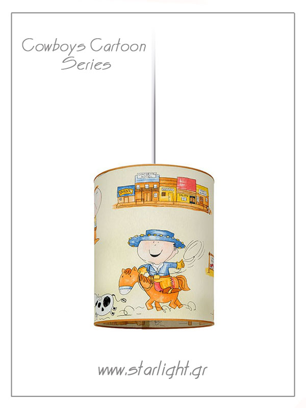 Pendant Children's Lampshades Cowboys Cartoon