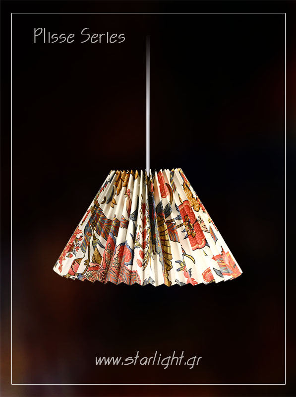 Pendant patterned lampshade in mint color.