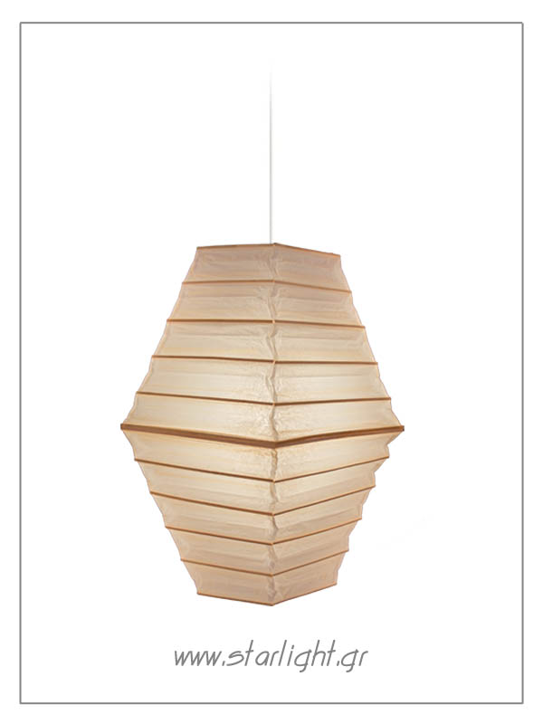 Pendant paper lantern in the shape of a pyramid.